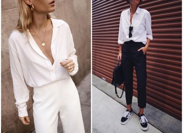 Как носить белую рубашку весной - модные образы с фото