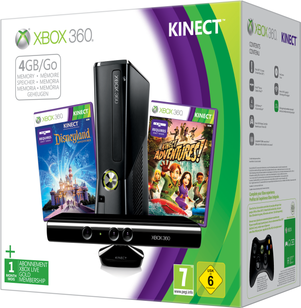 Xbox 360 4GB Kinect Holiday Bundle Includes Kinect Adventures Kinect Disney Land Adventures 1