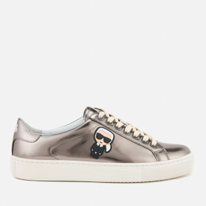 Karl Lagerfeld Women's Kupsole Leather Karl Ikonik Trainers - Dark Silver Mirror