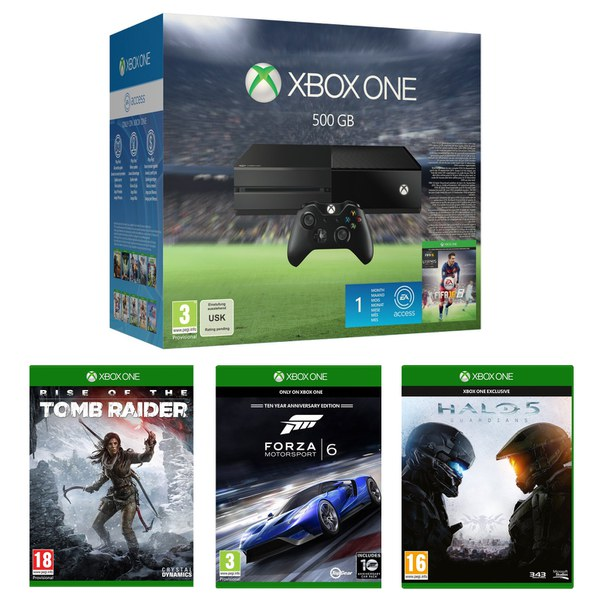 Xbox One 500GB With FIFA 16 Halo 5 Forza 6 Amp Rise Of The