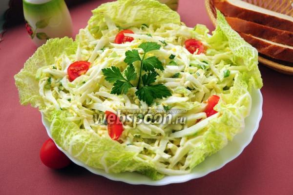 Салат из пекинской капусты с огурцом и яйцами с фото ...