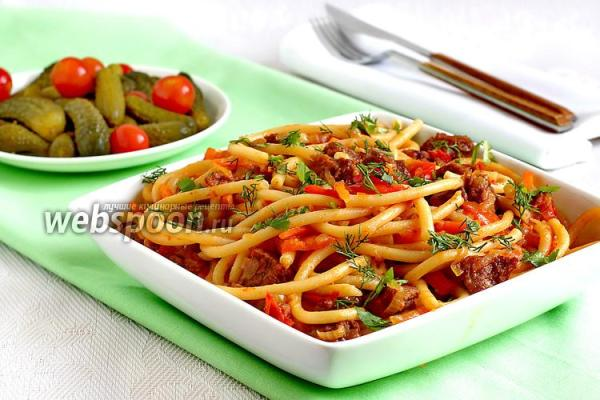 Макароны с мясом и овощами рецепт с фото, как приготовить ...