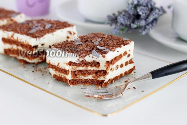Торт без выпечки из печенья и творога рецепт с фото как