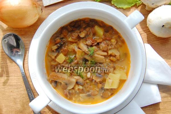 Грибной суп с зелёной чечевицей – пошаговый рецепт с фото ...