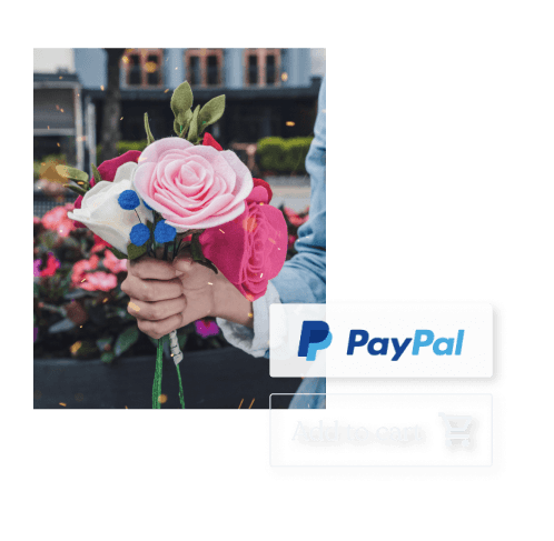 Woman holding flowers for her business