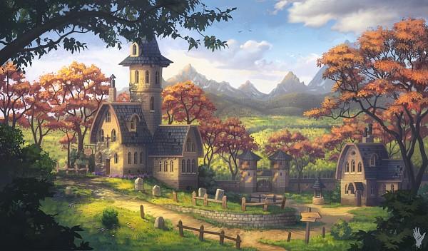 Tags: Anime, Alexshatohin, Grave, Sign, Church, Landscape Format, Grass