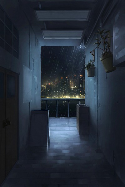 Tags: Anime, Pixiv Id 2586809, No People, Scenery, Rain, City, City Lights