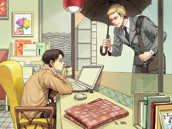 Tags: Anime, Pixiv Id 2774102, Shingeki no Kyojin, Levi, Erwin Smith, Bend Over, Laptop