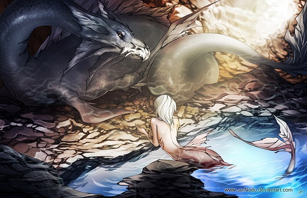 Tags: Anime, UdonNodu, Sunbeam, Rocks, Mermaid, Bare Back, Dragon