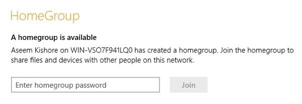 Join Windows 7 HomeGroup From Windows 8