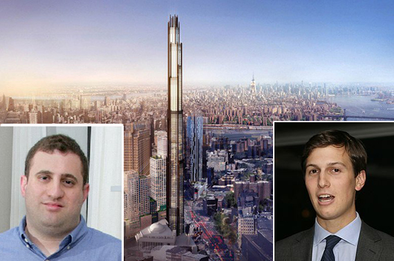340 Flatbush Avenue Extension in Brooklyn (inset: Michael Stern and Jared Kushner)
