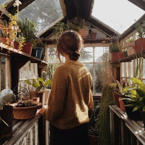 home, girl, nature, day, vintage