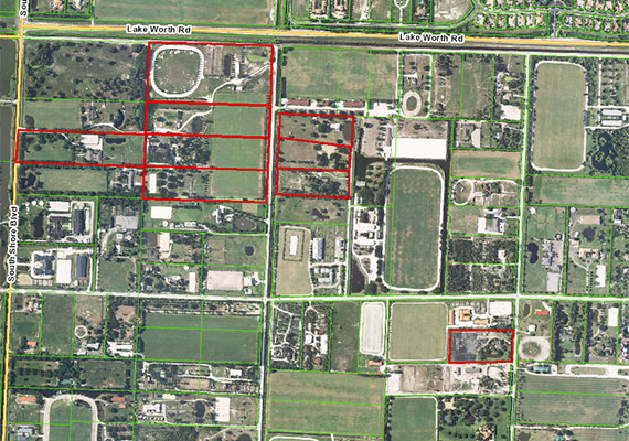 Aerial view of Malone's holdings, outlined in red