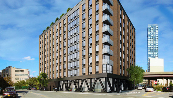 Rendering of Ekstein's condo building at 43rd Avenue and Hunter Street in Long Island City (credit: GF55 Partners)