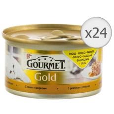 Hrana umeda pentru pisici Gourmet Gold Savoury Cake, Pui si Morcovi, 24x85g