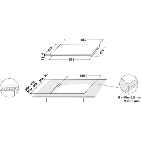 Plita incorporabila Whirlpool SMP 658C/BT/IXL HOB WP, Inductie, 8 zone de gatit, Touch control, Sticla neagra