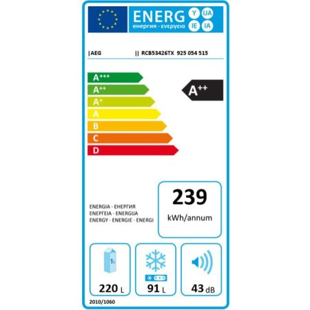 Combina frigorifica AEG RCB53426TX, 311 l, Clasa A++, Touch control, Iluminare LED, H 185 cm, Inox