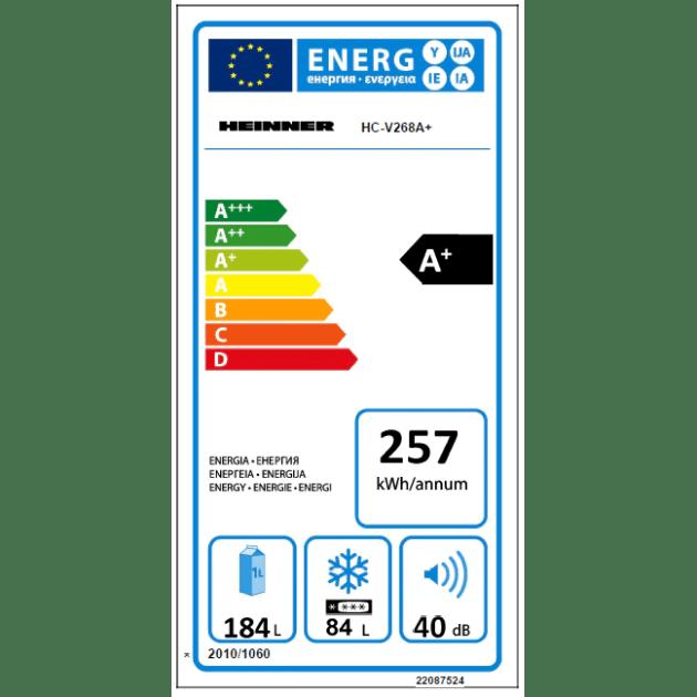 Combina frigorifica Heinner HC-V268A+, 268 l, Clasa A+, H 170 cm, Control mecanic cu termostat ajustabil, Alb
