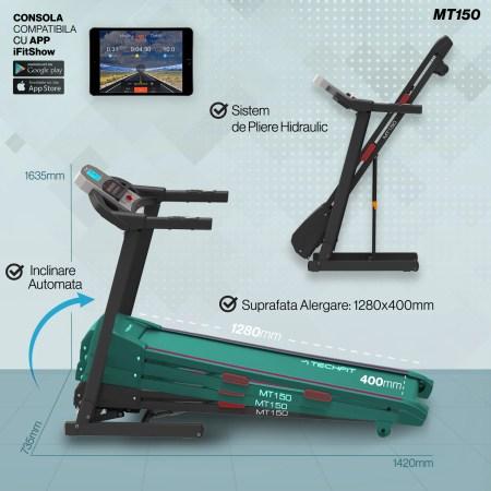 Banda de alergare TECHFIT MT150, Putere Maxima 4 CP, Greutate utilizator: 120 Kg, Suprafata de alergare 120 x 42cm, FIltru EMC