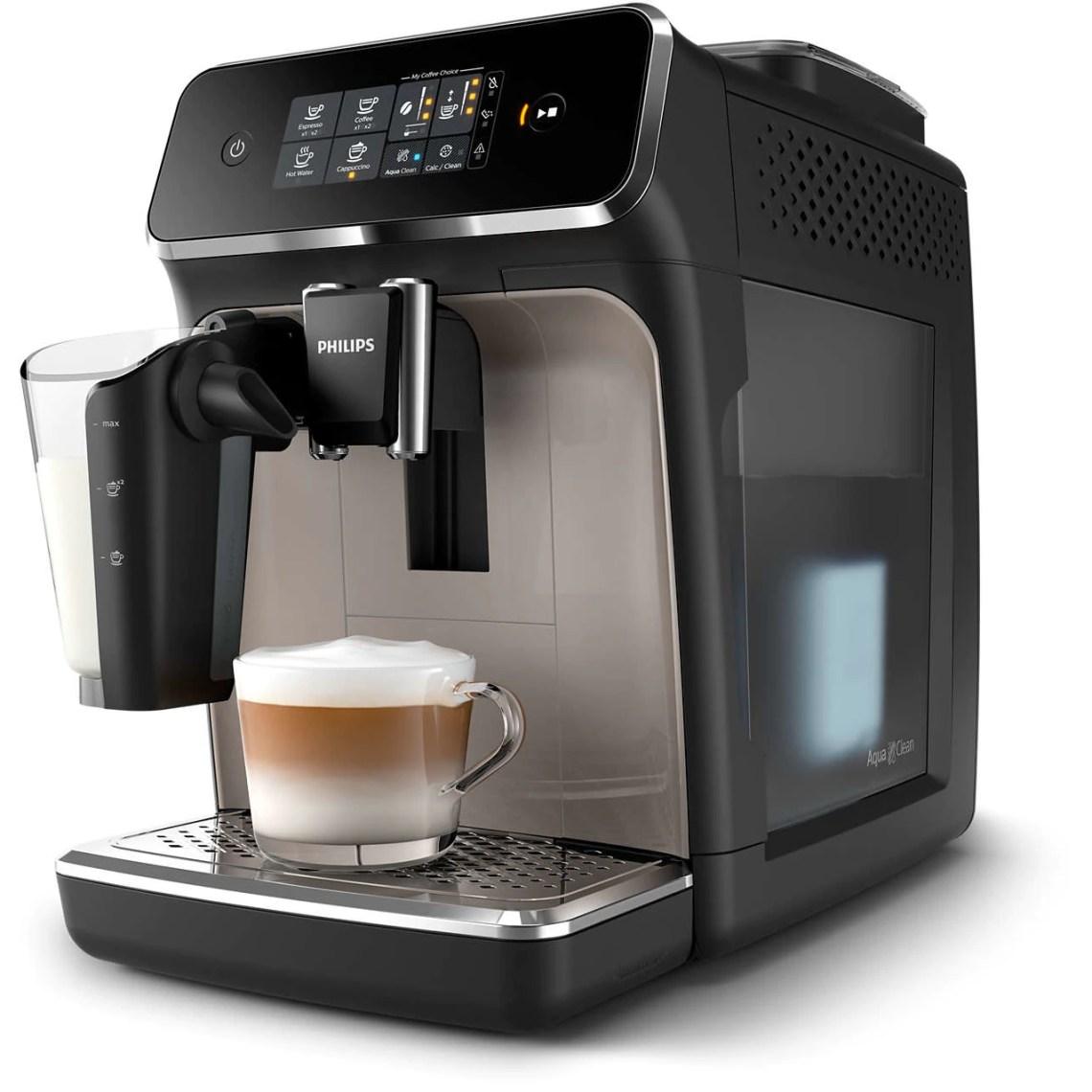 Espressor automat Philips EP2235/40, 12 setari de macinare, 15 bar, 3 setari pentru intensitate, 3 tipuri de bauturi , Filtru AquaClean, Ecran tactil, Argintiu/Negru