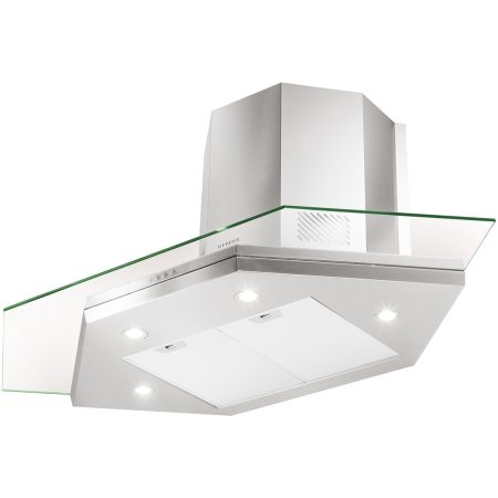 Hota incorporabila decorativa Faber PREMIO ANGOLO/SP EV8 LED X/V A90, Putere de absorbtie 700 mc/h, 1 motor, Iluminare LED, 90 cm, Inox