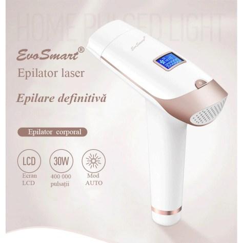 Epilator IPL EvoSmart™ RX, Pentru Epilare Definitiva Fara Durere, Tehnologie IPL, 5 Trepte De Intensitate, Pentru Femei Si Barbati, Senzor Piele SmartSkin, Mod Automat, Cu Afisaj, 400.000 de Pulsatii
