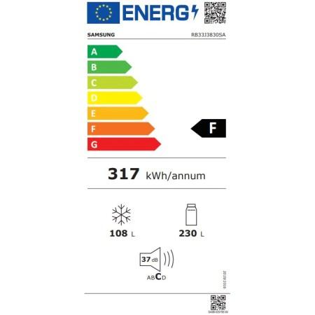 Combina frigorifica Samsung RB33J3830SA/EF, 321 l, Clasa F, No Frost, Compresor Digital Inverter, Dozator apa, Display, H 185 cm, Argintiu