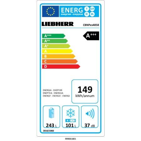 Combina frigorifica Liebherr Premium CBNPes 4858, 344 l, Clasa A+++, No Frost, BluPerformance, Display touch, DuoCooling, H 201 cm, Inox Smart Steel