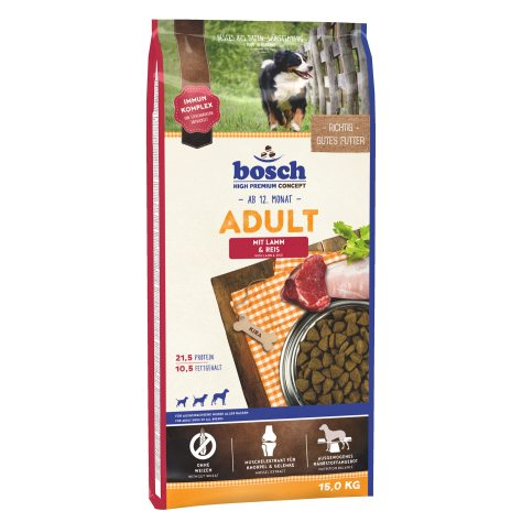 Hrana uscata pentru caini Bosch, Miel si Orez, 15kg
