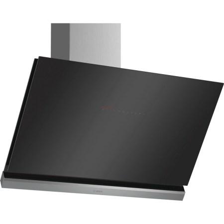 Hota incorporabila decorativa Bosch DWK98PR60, TouchControl, 3 trepte, Putere de absorbtie 840 mc/h, 90 cm, Sticla neagra