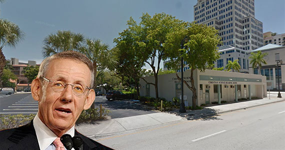 The parking lot and building at 142 Lakeview Drive (Inset: Stephen Ross of the Related Cos.)