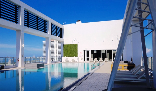 The rooftop pool deck at Centro
