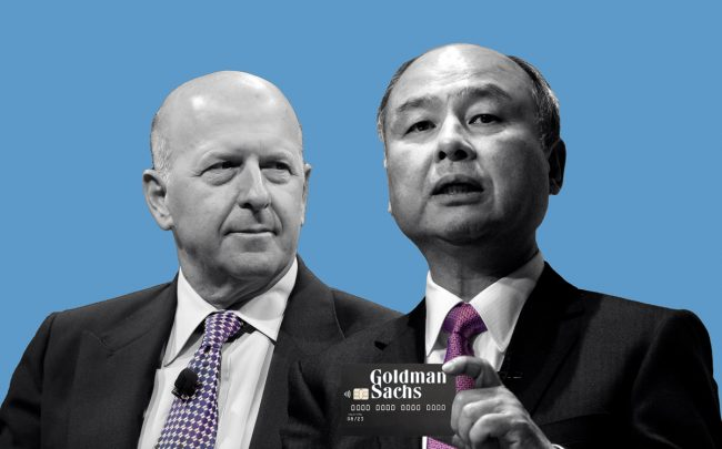 Softbank CEO Masayoshi Son and Goldman Sachs CEO David Solomon (Credit: Getty Images)