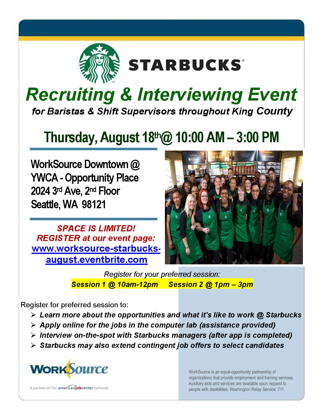 Starbucks Hiring Event Flyer