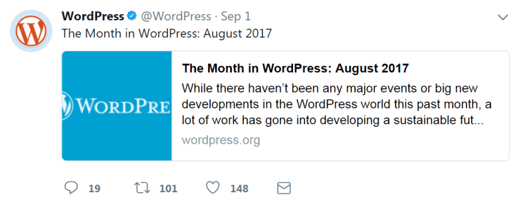 Use social media to drive engagement - A Twitter post from WordPress.