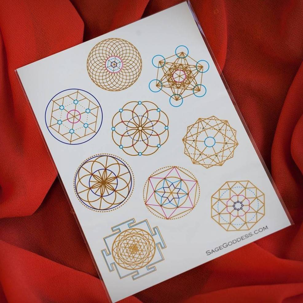 Sg Metallic Sacred Geometry Flash Tattoos To Open Communication Channels To Spirit