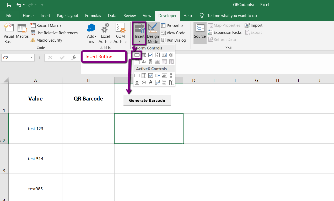Generating Qr Code Barcodes From Cells In Excel Using Vba And Bytescout Barcode Sdk