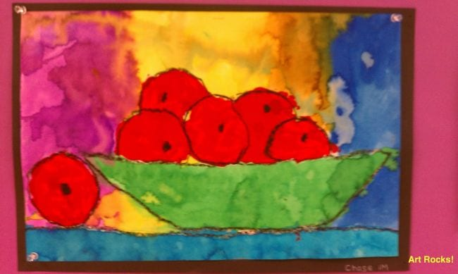 Cezanne-style painting of a bowl of apples against a colorful background