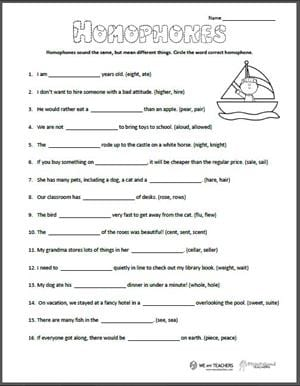 Free Printable Homophones Worksheet