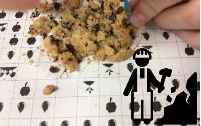 Student's hand digging through a crumbled cookie to pull out chocolate chips (Fourth Grade Science)