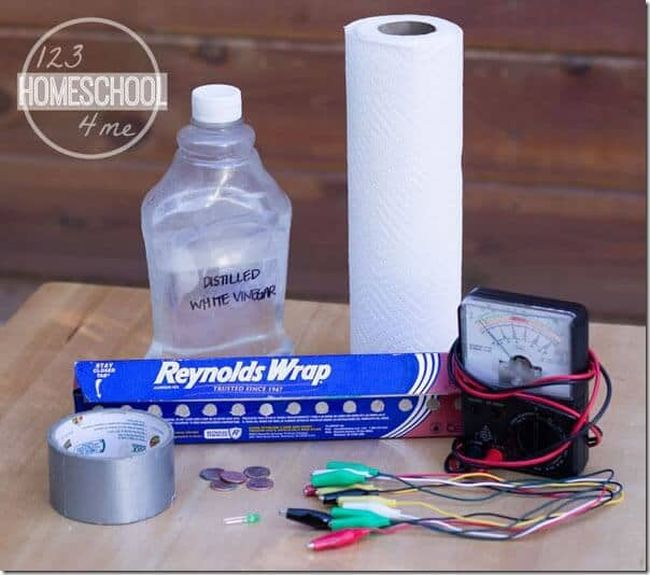 Bottle of distilled white vinegar, paper towel, aluminum foil, duct tape, pennies, electrical wires, and voltmeter