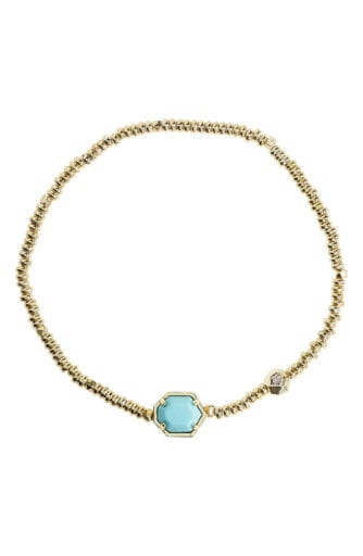 gold beaded Kendra Scott bracelet with teal stone