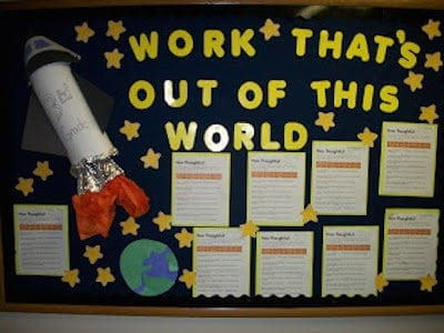 Display wall with stars and rocket for classroom work that is out of this world