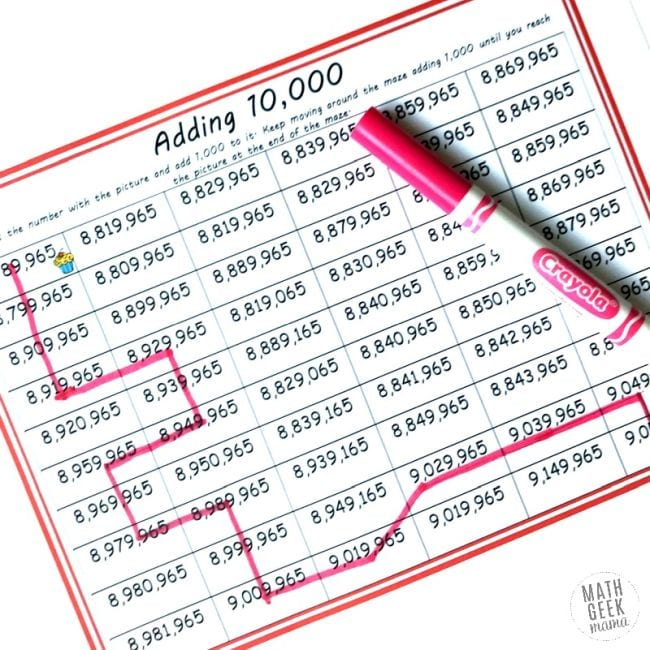 Adding 10,000 maze worksheet, available from Math Geek Mama