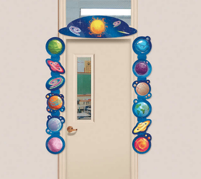 Hanging galaxy classroom door border with sun and planets