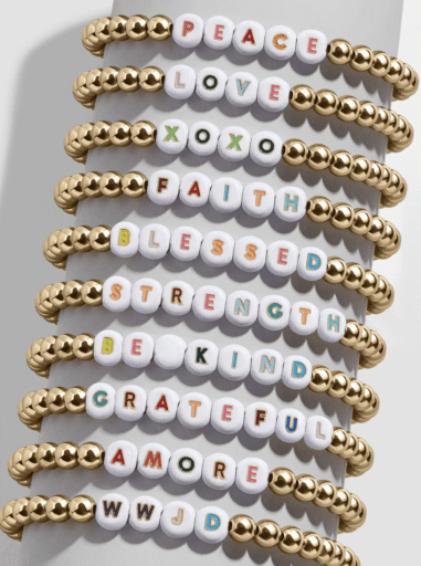 Baublebar alphabet bracelet with custom mantras