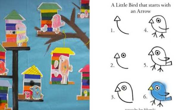 Paper birdhouses and instructions on how to draw a simple bird that starts with an arrow