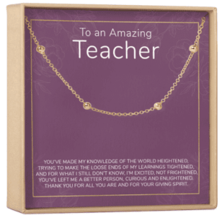 Gold chain teacher bracelet gift with box and note
