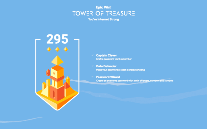 Screen shot of Google Interland game points total