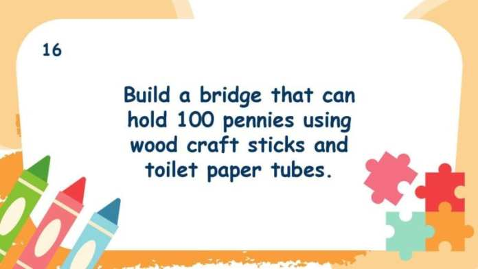 Build a bridge that can hold 100 pennies using wood craft sticks and toilet paper tubes.
